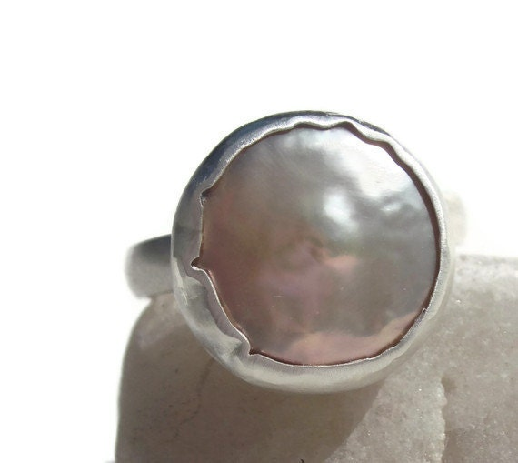 Artisan Cocktail Ring with Coin pearl and Sterling silver bezel set  size 7.5-8 Sundance style
