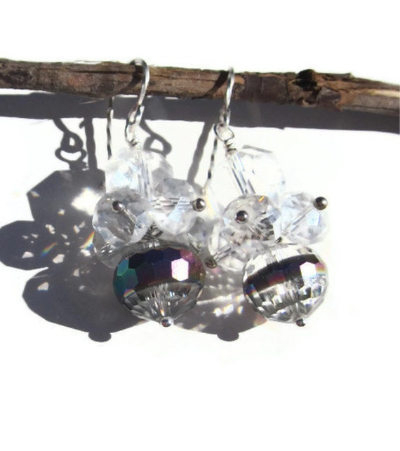 """SALE Chinese Crystal and clear quartz  with silver """" Catch a ray of sunshine""""  earrings"""