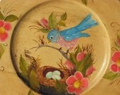 Vintage Blue Bird Nest Tole Painted Wood Plate Plaque Shabby Chic