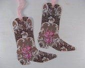 Shabby Chic Cowgirl Boot Hang Tags Country Wedding Set of 6
