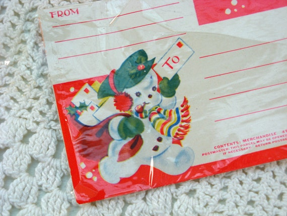 Vintage Merry Christmas Tags and Snowman Address Labels