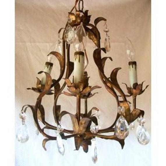French Gilt Chandelier:... Vintage French Gilt Chandelier. 🔎zoom,Lighting