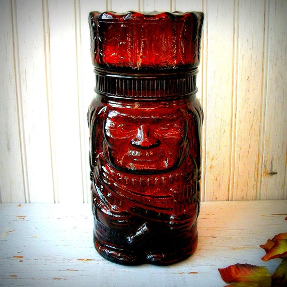 Vintage  Mid Century American Indian Brown Glass Apothecary Jar/Humidor