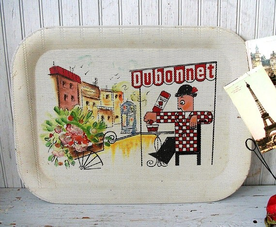 Vintage French Wine Advertising Tray for Dubonnet