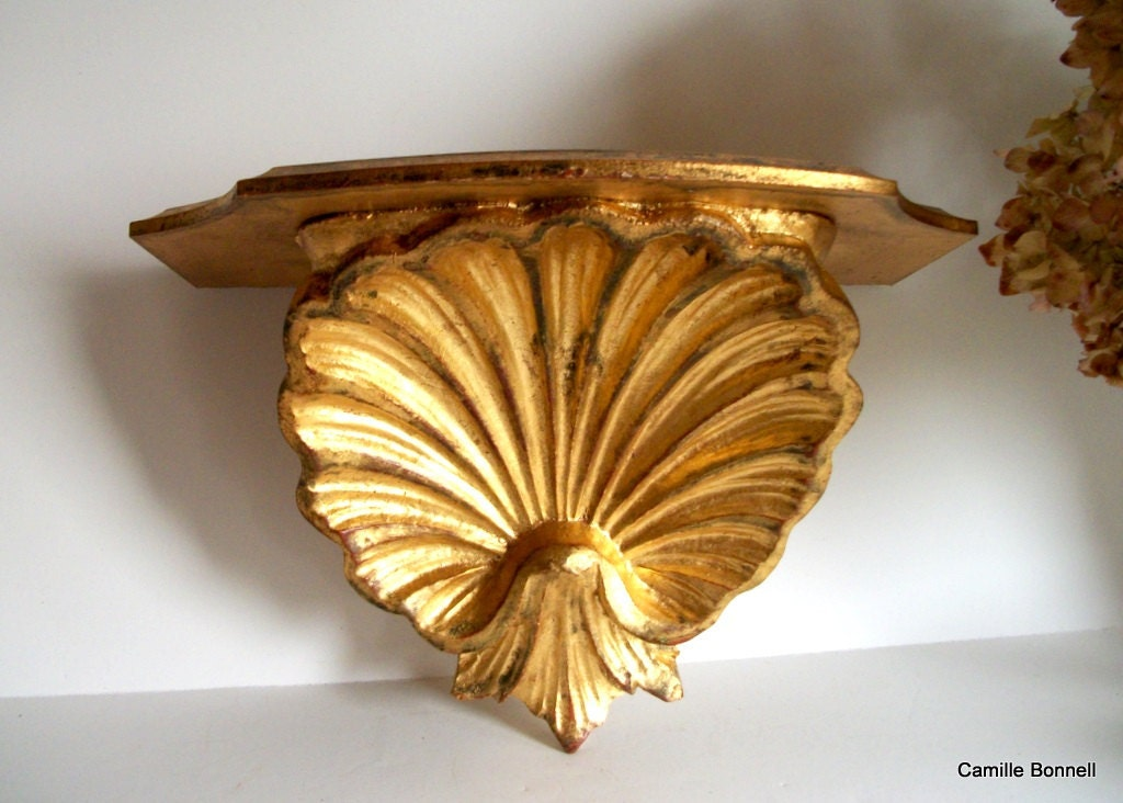 Vintage Shell Wall Lights : Vintage Italian Gilt Florentine Scallop Shell Wall Sconce