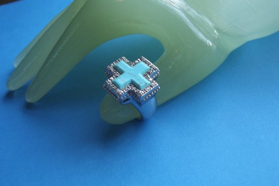 Vintage Silver 925 THAI Clear rhinestone Turquoise Cross Costume Ring Size 8