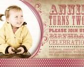 birthday invitation vintage pink