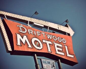 Vintage Motel Photo, Driftwood Motel, typography, Fine Art Travel Photograph, Graphic Designer Gift, Guest Bedroom
