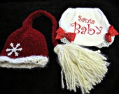 Christmas Hat Bloomer Set Baby Photography Prop Newborn Girls Pom Poms Santa Tassel