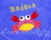 Personalized Beach Towel Boys Applique Bath Crab Boutique Style You Design