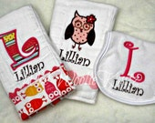 Personalized Owl Burp Cloths and Bib Gift Set for New Baby/Mom
