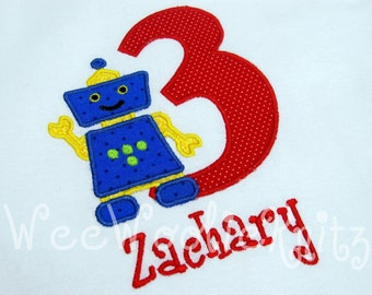 Robot Birthday T Shirt Boys Appliqued Personalized 1st 2nd 3rd 4th Any Number