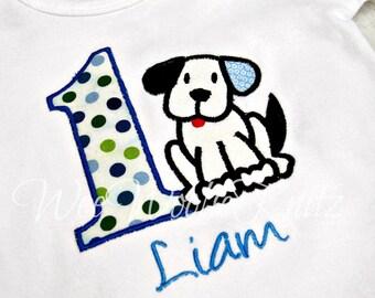 Puppy Birthday T Shirt or Bib Boys Girls Playful Personalized Applique Dog Bodysuit  1st 2nd 3rd