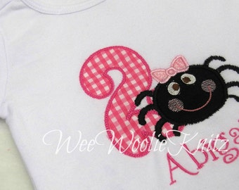 Itsy-Bitsy Spider Birthday T shirt Bib Girls Boys Applique Personalized 1st 2nd 3rd Boutique Style