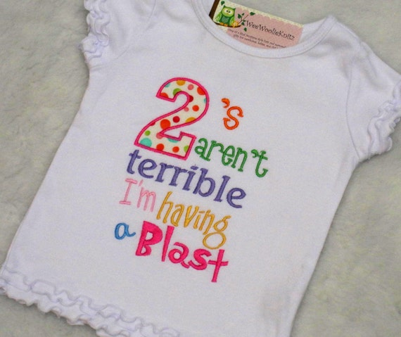 Terrible Two's T Shirt Girls Applique Embroidered Boutique Style 2nd Birthday