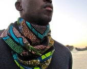 African Print Mix Winter Scarf 0013Black