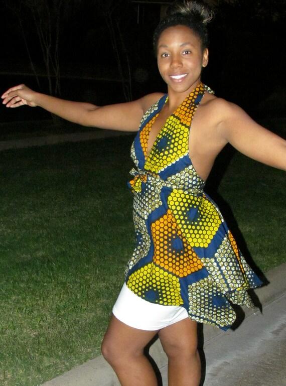 African Print Halter Neck Flared Top