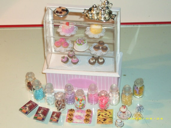 Candy  cake shop accessories lot  scale dollhouse miniature 48 pieces