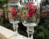 Fight Like a Girl  Redneck Wine Glass Set of 2