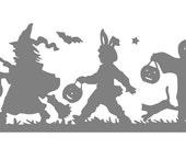 Halloween Trick or Treat Silhouette Vinyl Wall Art