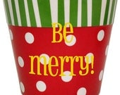 Personalized Christmas Dots and Stripes Container