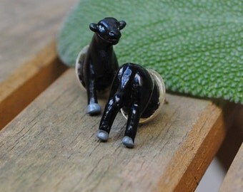 Black Cow Butt Earrings