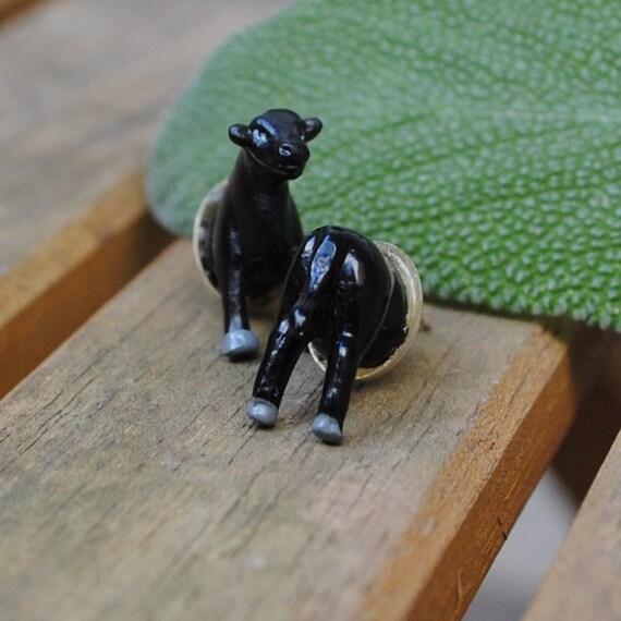 Black Cow Butt Earrings