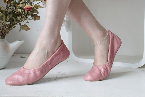 custom listing for Fleur...soft leather ballet flats. french rose.