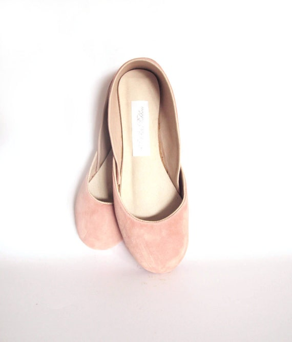 new. Soft suede leather ballet flats. Dusty rose.