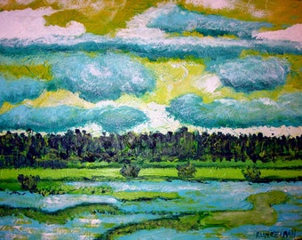 Impressionistic Painting, Impressionism Landscape Painting, Teal and Green, Aqua Painting, monet like painting, landscape painting