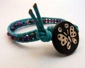 Beaded Leather Wrap Bracelet - Pink & Blue Butterfly