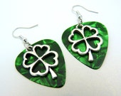 St. Patrick's Day Earrings - Lucky Four Leaf Clover - Free Shipping