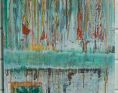 Free Shipping- Framed Abstract Painting -Rain Song- Original Mixed Media Oil Painting 24 x 36 by Sarah Lapp
