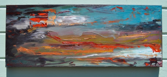 "Reserved- Abstract Art Oil Painting ""Wind Over Water"" -  40 x 16 by Sarah Lapp"