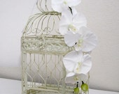 X-Large Cream Hexagonal Birdcage with Cascading White Orchids- Wedding card holder