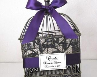 Vintage Black/Gold Birdcage- Wedding Card Holder