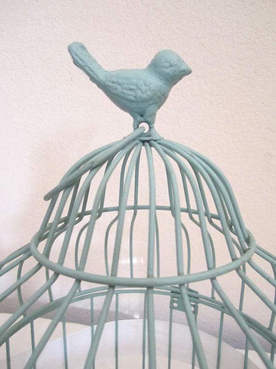 RESERVED-Tiffany Blue Medium Birdcage- Wedding Card Holder