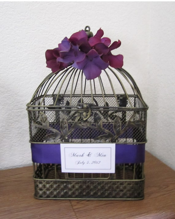 Purple Hydrangeas- Black/Gold Birdcage-Wedding Card Holder