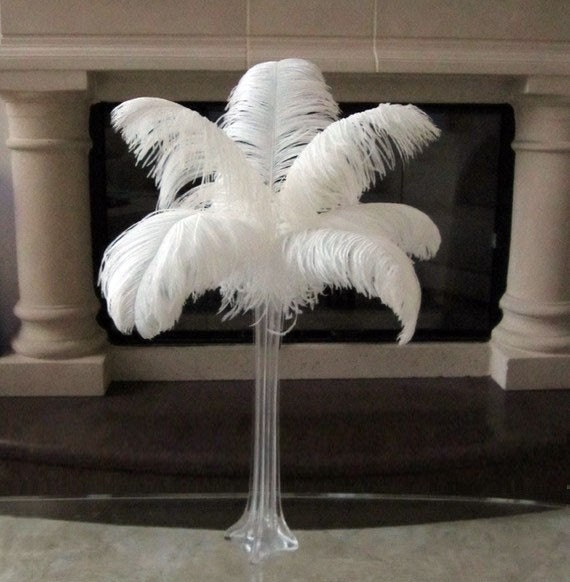 Reserved for juliehabecker white ostrich feather centerpiece