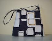 Hobo bag,  Blue and White bag, Geometric deisgns, I-pad bag