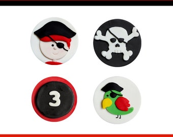 12 Fondant pirate toppers for cupcakes or cookies