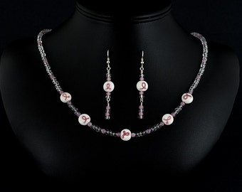 Pink Ribbon Breast cancer awareness necklace and earrings set