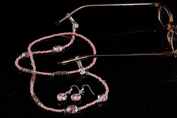 Breast cancer awareness eyeglass holder and earrings set