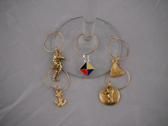 Mixed Nautical Wine Glass Charm Collection