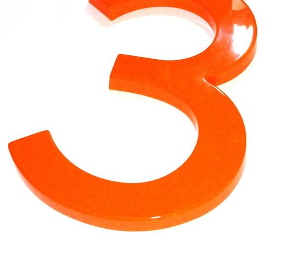 """Vintage Plastic Sign Number """"3"""""""