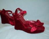 Burgundy Red Velvet Strappy Wedge Heels, Size 8 Medium, Ribbons