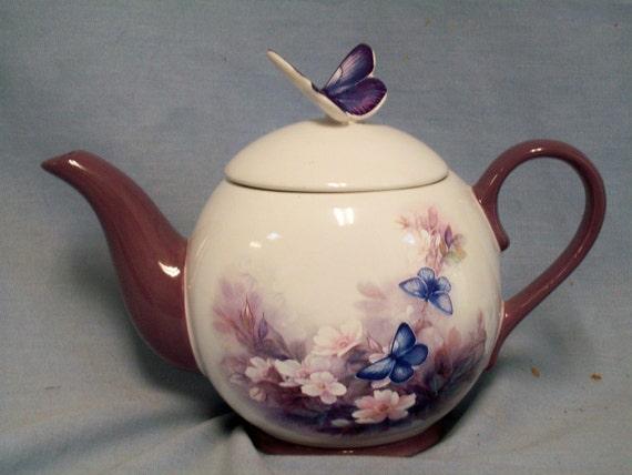 Vintage Lena Liu Blossoms & Butterflies Teapot, Asian, Floral