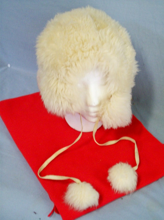 Reserved.........Vintage Faux Fur Hat, Pompoms, Made in Italy, Creamy White