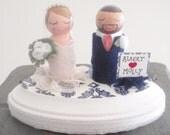 Custom Bride and Groom Cake Topper atop a Pedestal Stand (Wedding Cake Dolls)  (Wedding Cake Topper)