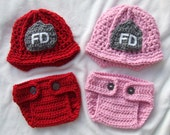 Firefighter Helmets For Twins with Matching Diaper Covers Available in Newborn to 12 Months Size- MADE TO ORDER